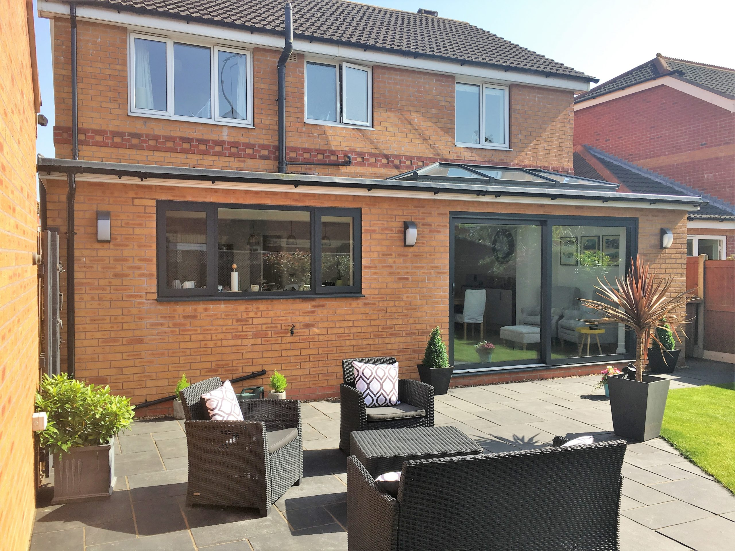 outside of a single storey rear extension