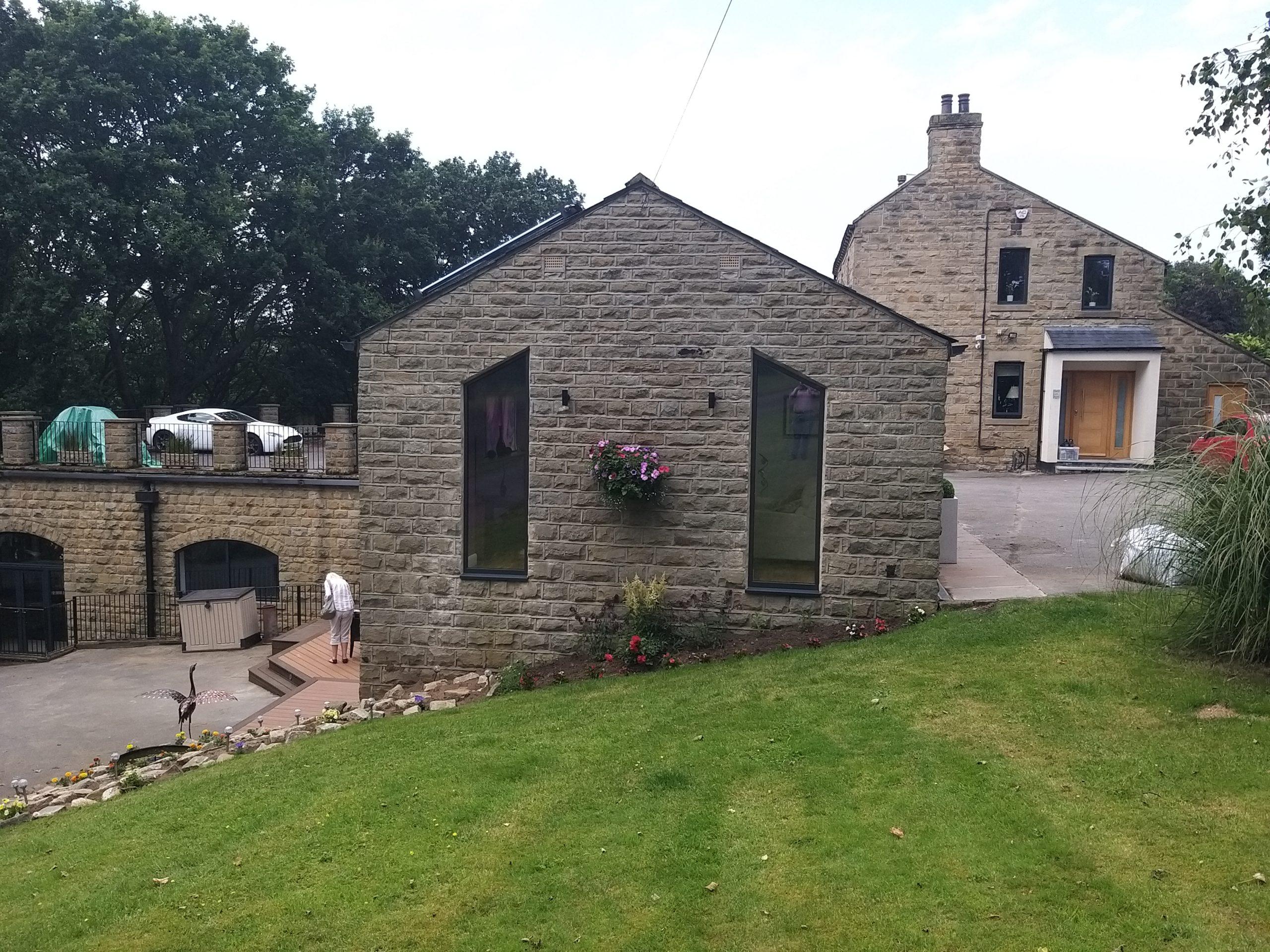 Garage conversion windows and outside arrangement