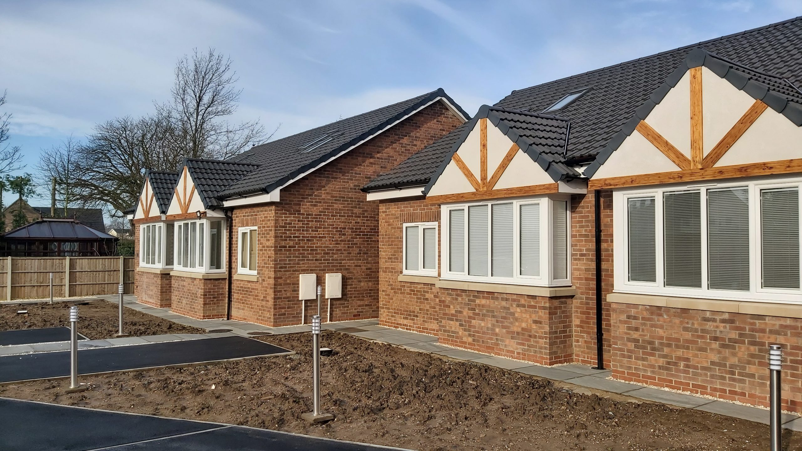 side angle view of new build bungalows