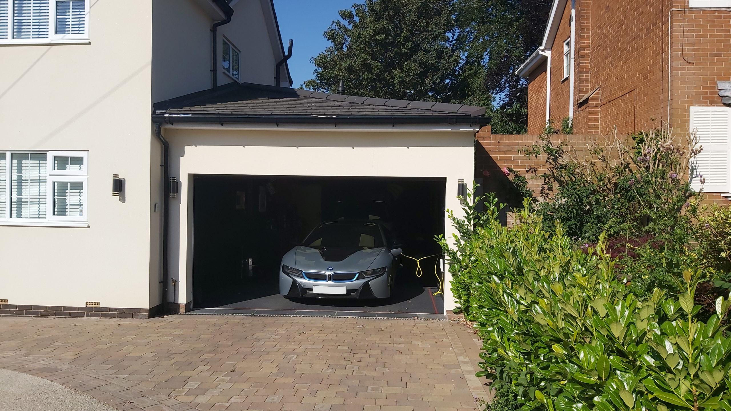 Car parked inside new garage