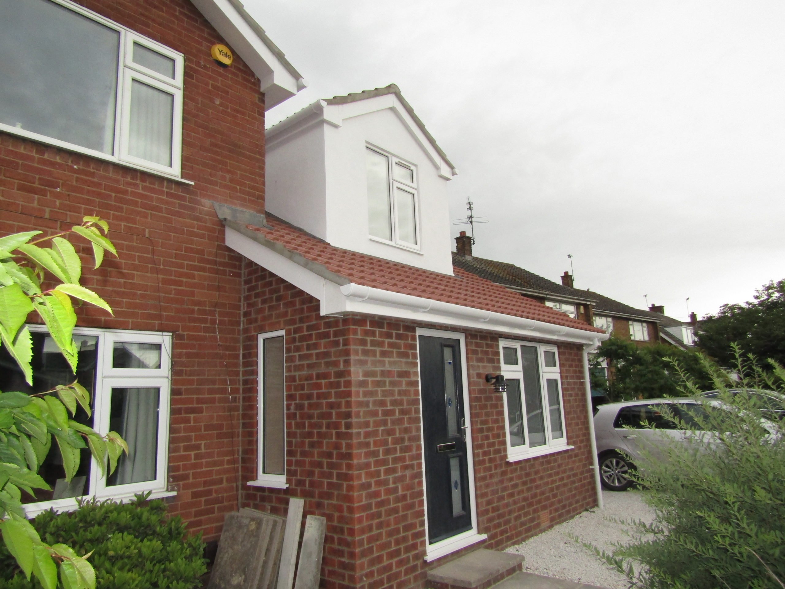 Front door view of extension and loft