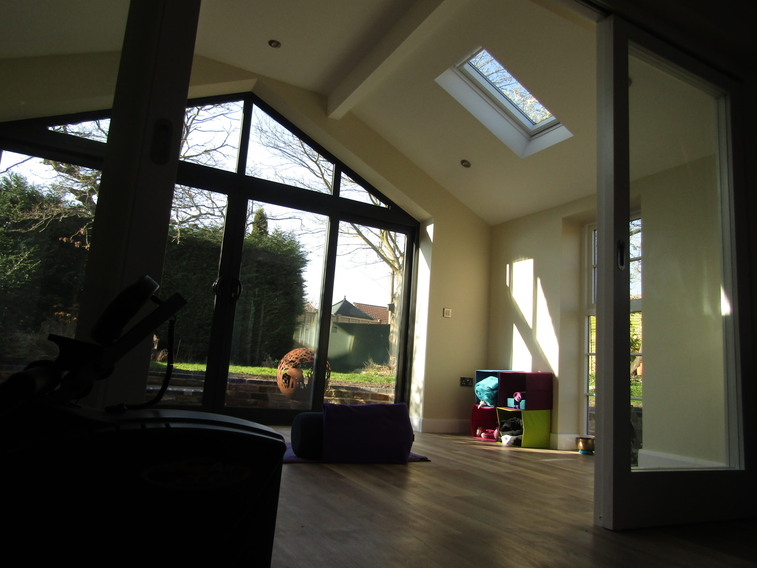 low view of garage conversion with gym