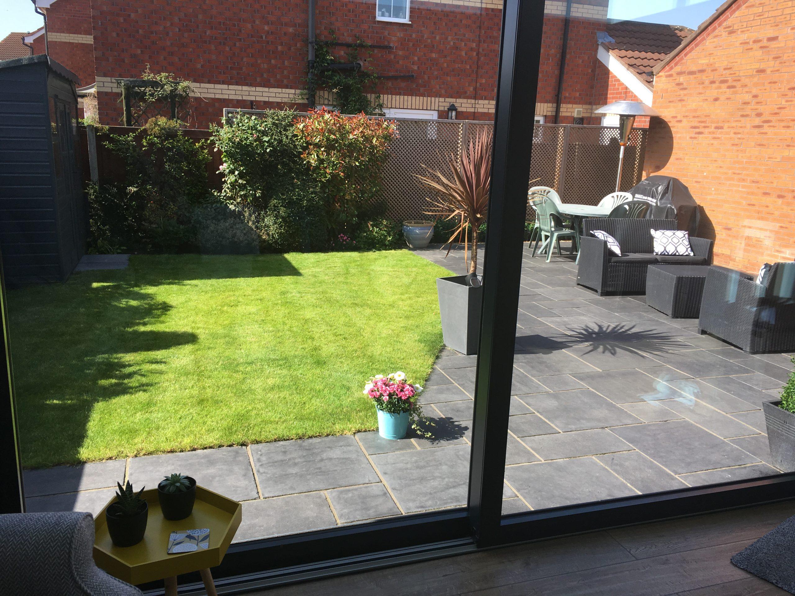 Garden view form inside single storey extension
