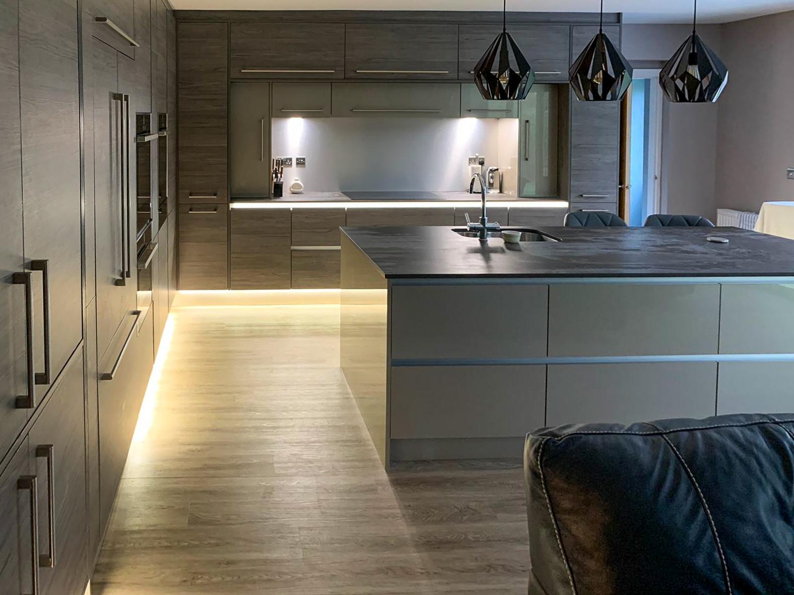 Modern kitchen on ground floor of double extension