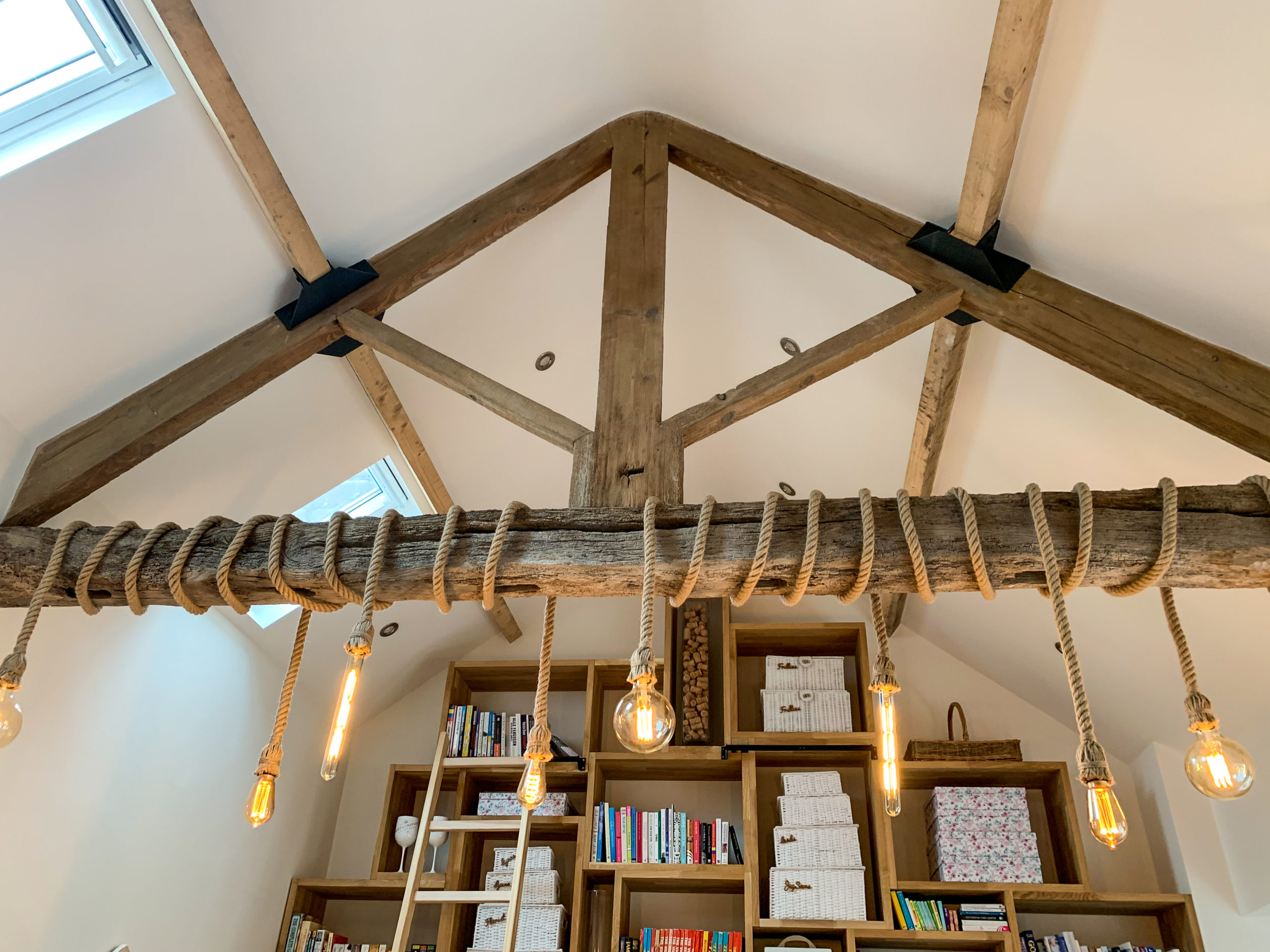Decorated roof of barn conversion