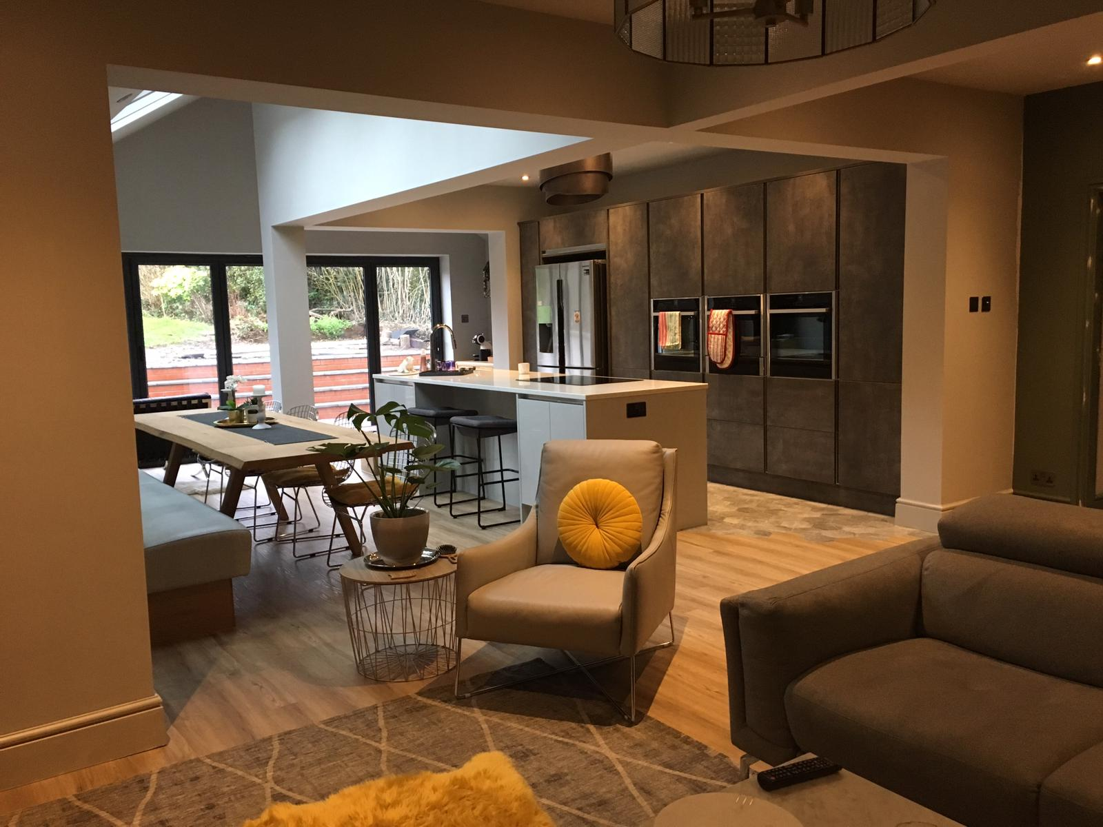 Living room of newly built open plan single storey extension
