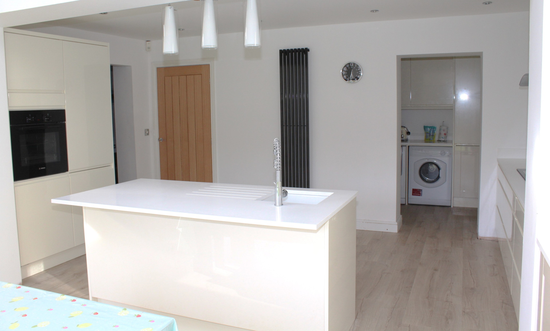 island and utility room in kitchen extension