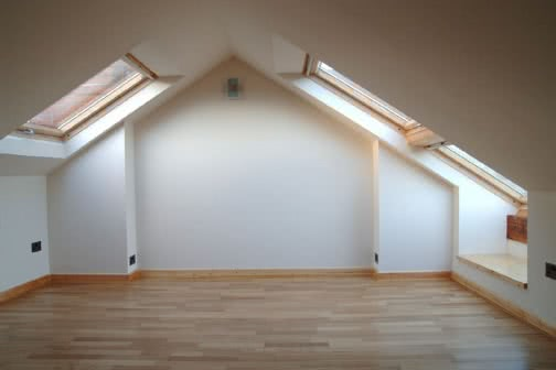 Empty loft conversion space in Wakefield
