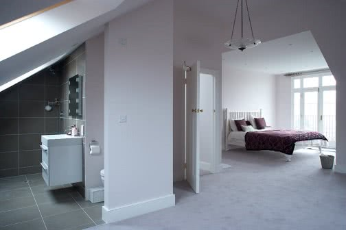 Loft conversion with balcony and en suite bathroom in Leeds