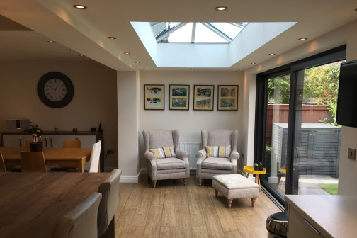 Single storey extension in Leeds with skylight and furniture