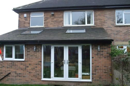 Single storey rear extension with patio doors