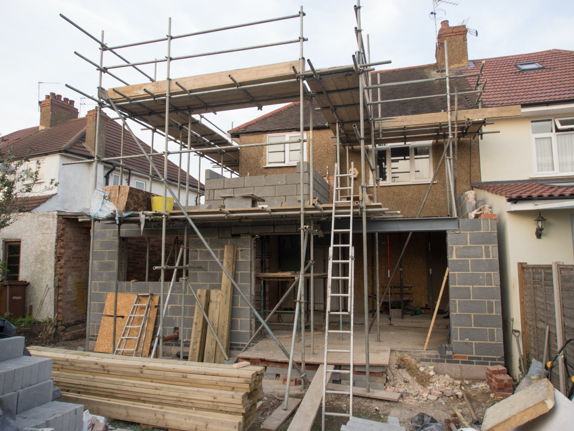 House extension being built from conservatory