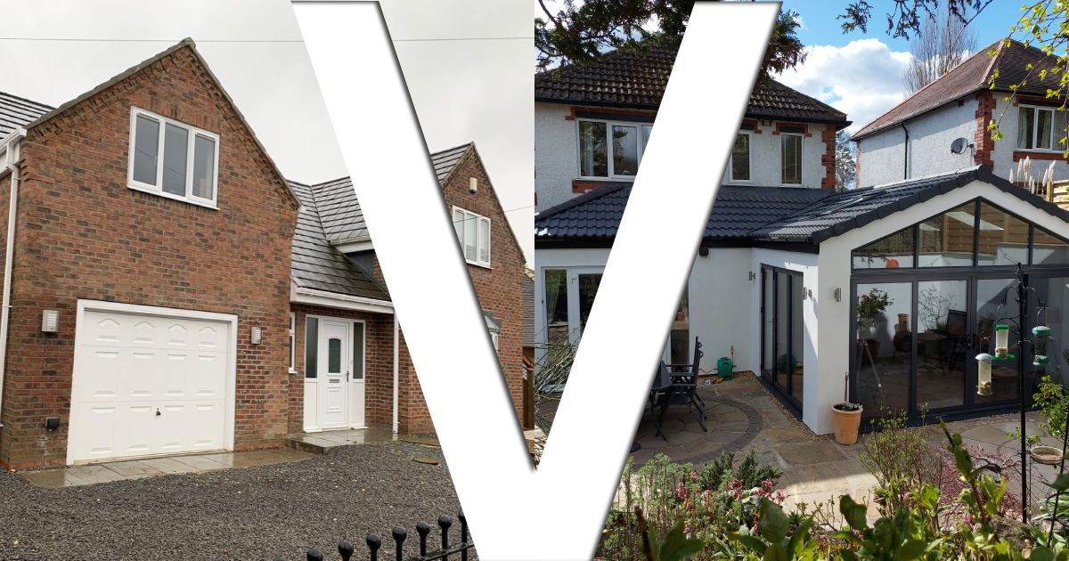 Single or double storey house extension graphic